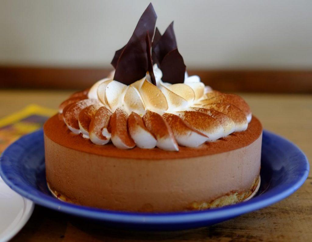 Chocolate Mousse Cake with Hazelnut Meringue